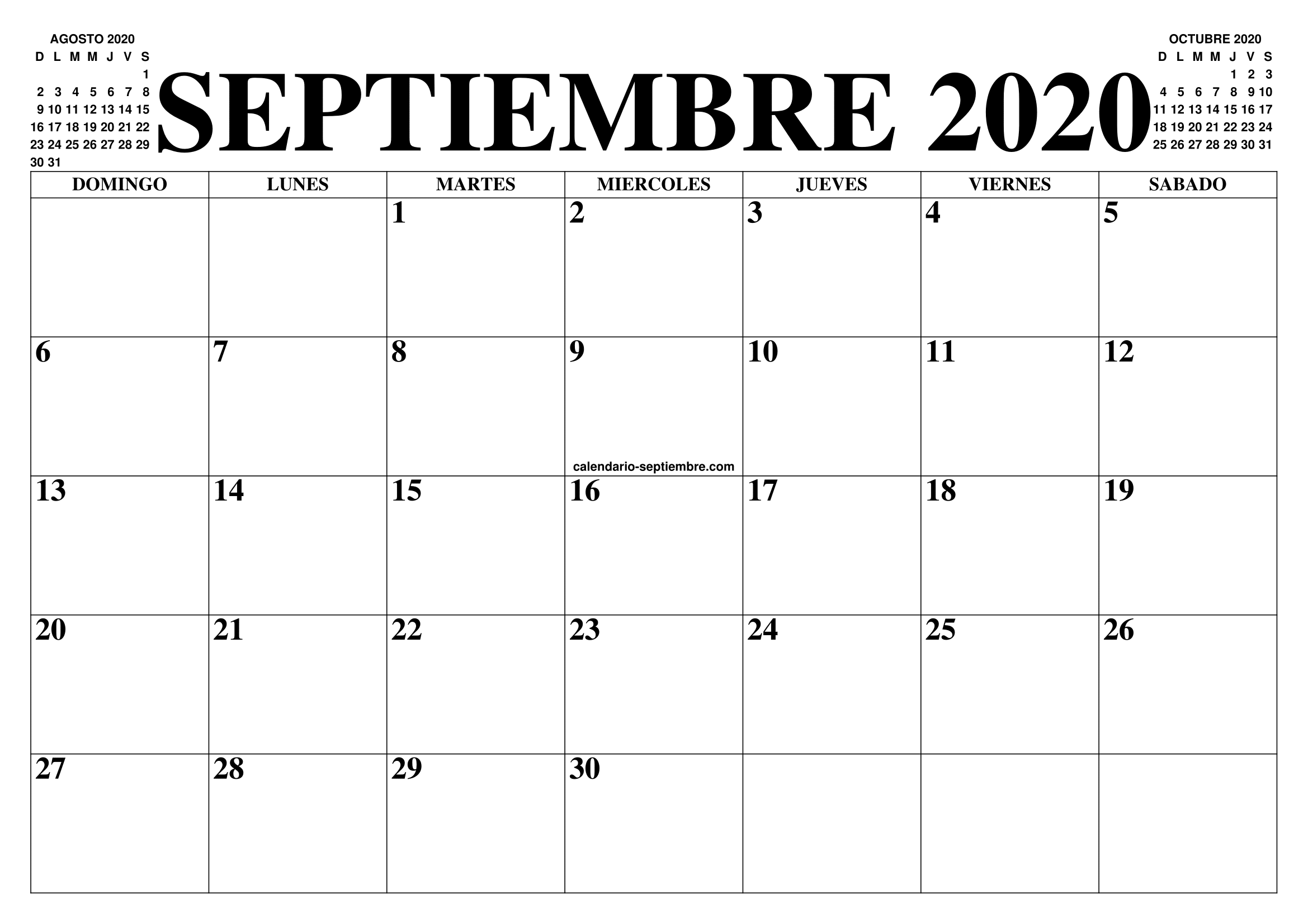Calendario De Agosto 2020.Calendario Septiembre 2020 El Calendario Septiembre Para Imprimir